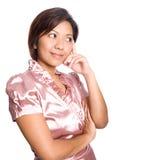 asiatiskt tänka för kvinnlig Fotografering för Bildbyråer