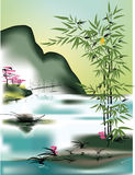 asiatiskt tema royaltyfri illustrationer