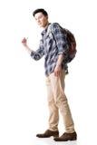 Asiatiskt ungt resande lifta för man arkivfoto