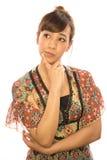 Asiats-Latina-Mädchenfrauendenken Lizenzfreie Stockfotografie