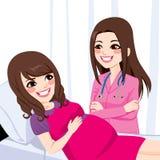 Asiats-schwangere Frau mit Doktor vektor abbildung