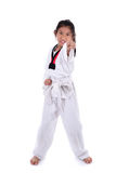 AsiatTaekwondo flicka på med bakgrund Arkivfoton