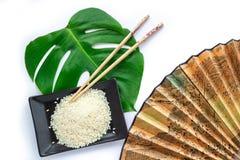 Asiatuppsättning av ris, pinnar, grönt blad och transp Arkivbild
