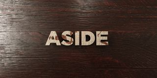 Aside - grungy wooden headline on Maple  - 3D rendered royalty free stock image. This image can be used for an online website banner ad or a print postcard Royalty Free Stock Images