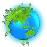 Asie du Sud-Est et Australie sur terre de planète Photo libre de droits