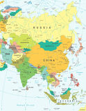 Asien - översikt - illustration Kulört och raster Royaltyfria Foton