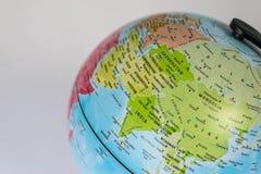 Asien översikt på ett jordklot med vit bakgrund Royaltyfri Fotografi