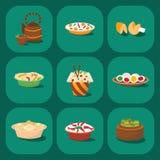 Asien-Abendessenmahlzeitporzellanmittagessen des chinesischen Küchetraditionslebensmitteltellers kochte das köstliche Vektorillus Stockfotos