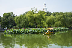 Asien China, Peking, Beihai Park, die weiße Pagode, der Lotosteich, Stockfotos