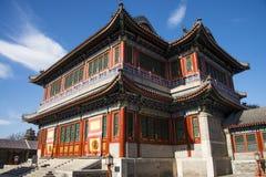 Asien China, Peking, der Sommer-Palast, klassische Architektur, Herz- und Gartentheatergebäude Lizenzfreie Stockbilder