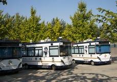 In Asien China, Peking, Olympiapark, Strafverfolgung der öffentlichen Sicherheit des Polizeiwagens Lizenzfreie Stockfotos