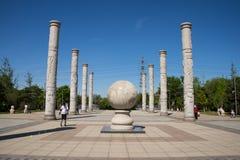 Asien China, Peking, Yang Shan Park, Totempfahl lizenzfreie stockbilder