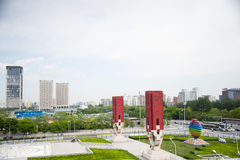 Asien-Chinese, Peking, Olympiapark, Landschaftallee, Unterlassung Lizenzfreie Stockfotos