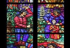 Asien fönster i Votiv Kirche i Wien Royaltyfria Foton