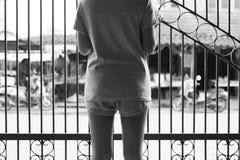 Asien-Frauenstellung und fangen einen Eisenzaun des Hauses und des Schauens zur Außenseite lizenzfreies stockbild