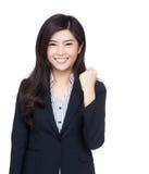 Asien-Geschäftsfrau jubeln oben zu Stockbilder