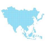 Asien gjorde av prickar i blått och vit Royaltyfri Fotografi