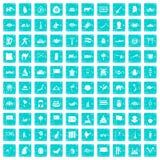 100 Asien-Ikonen stellten Schmutz blau ein Stockfotos