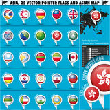 Asien-Karte und Flaggen Zeiger-Ikonen set3 Lizenzfreie Stockfotografie
