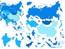 Asien-Karten- und -landkonturen - Illustration Stockbilder