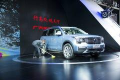 Asien Kina, Peking, bilutställning för international 2016, inomhus mässhall, i stora SUV, trumpchi GS8 Arkivfoto