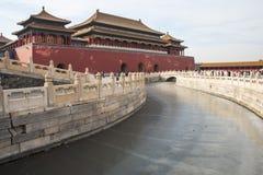 Asien Kina, Peking, den imperialistiska slotten, historien av byggnaden, kunglig port för Palaceï ¼Œthe meridian Arkivbilder