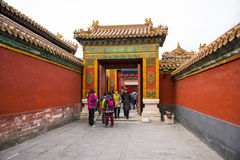 Asien Kina, Peking, den imperialistiska slotten, historien av byggnaden, kungligt Palaceï ¼ŒGate hus, röda väggar Arkivfoto