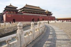 Asien Kina, Peking, den imperialistiska slotten, historien av byggnaden, meridianport Royaltyfri Foto