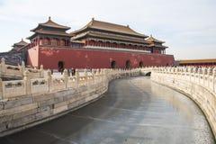 Asien Kina, Peking, den imperialistiska slotten, historien av byggnaden, meridianport Arkivbilder