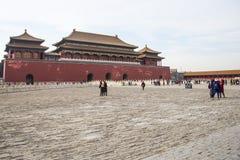 Asien Kina, Peking, den imperialistiska slotten, historien av byggnaden, meridianport Royaltyfri Bild