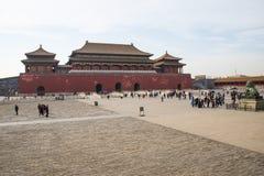 Asien Kina, Peking, den imperialistiska slotten, historien av byggnaden, meridianport Royaltyfri Fotografi