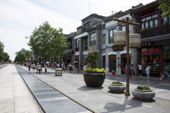 Asien Kina, Peking, den Qianmen gatan, kommersiell gata, går gatan Arkivfoton