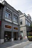 Asien Kina, Peking, den Qianmen gatan, kommersiell gata, går gatan Royaltyfri Bild
