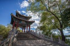 Asien Kina, Peking, gammal sommarslott Arkivfoto