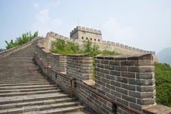 Asien Kina, Peking, historiska byggnader, den stora väggen Juyongguan, klockatorn, fyrtorn Arkivbild