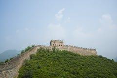 Asien Kina, Peking, historiska byggnader, den stora väggen Juyongguan, klockatorn, fyrtorn Royaltyfria Foton