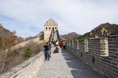Asien Kina, Peking, historiska byggnader som badaling den stora väggen Arkivfoto