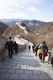 Asien Kina, Peking, historiska byggnader som badaling den stora väggen Royaltyfria Foton