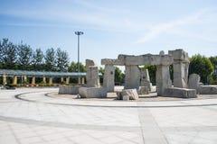 Asien Kina, Peking, Jianhe parkerar, kvadrerar, stonesculptural Royaltyfri Bild