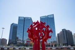 Asien Kina, Peking, landet röstade ŒCity för rikedomsquareï¼ skulptur Royaltyfri Bild