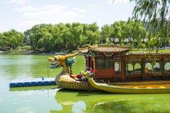 Asien Kina, Peking, Longtan sjön parkerar, Dragon Boat arkivfoton