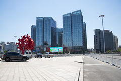 Asien Kina, Peking, modern arkitektur, landet röstade rikedomfyrkanten Royaltyfria Foton