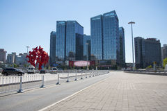 Asien Kina, Peking, modern arkitektur, landet röstade rikedomfyrkanten Royaltyfri Foto