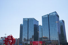Asien Kina, Peking, modern arkitektur, landet röstade rikedomfyrkanten Royaltyfria Bilder