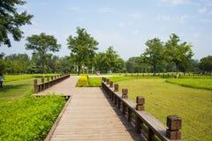 Asien Kina, Peking, olympiska Forest Park, ŒWooden för landskaparchitectureï¼ slinga Arkivbilder