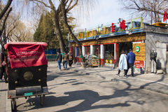 Asien Kina, Peking, Shichahai sceniskt område, stånggata, rickshawen Royaltyfri Foto