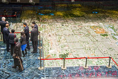 Asien Kina, Peking som planerar mässhallen, modell för stads- planläggning Royaltyfria Bilder