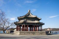 Asien Kina, Peking, sommarslotten, fyrkantig paviljong åtta Royaltyfri Bild
