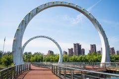 Asien Kina, Peking, stadsbro Arkivfoto