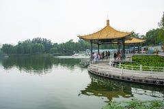 Asien Kina, Peking, Taoranting parkerar den ,Double paviljongen royaltyfria bilder